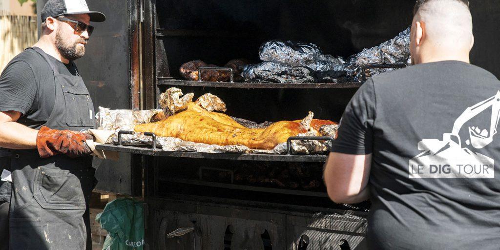 Barbecue du Dig Tour avec la grille bbq